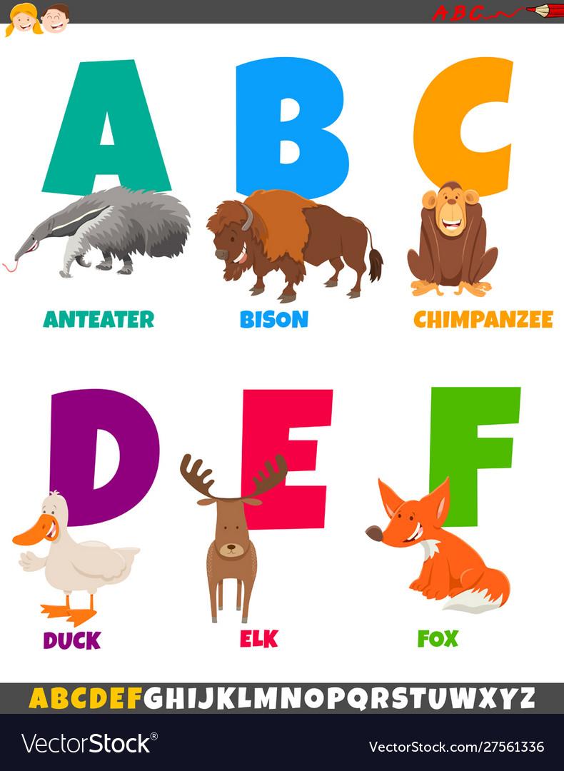 Cartoon alphabet set with animal characters