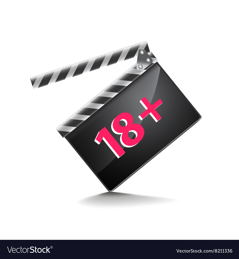 Clapper board adults only isolated on white