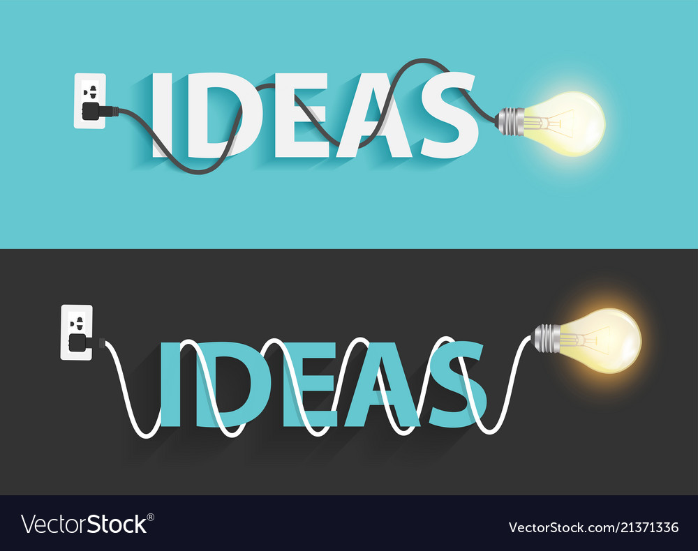 Creative light bulb ideas text design
