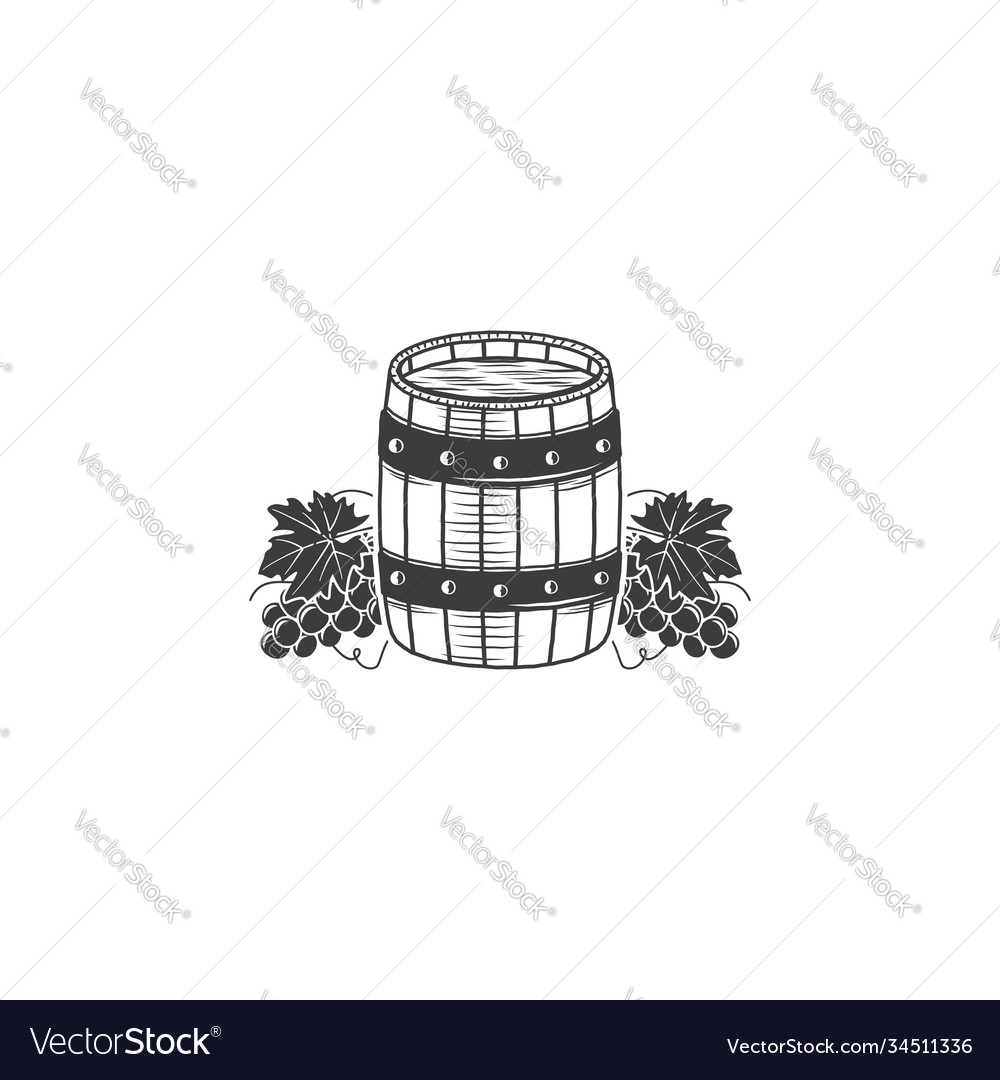 Hand drawing wood barrel in white