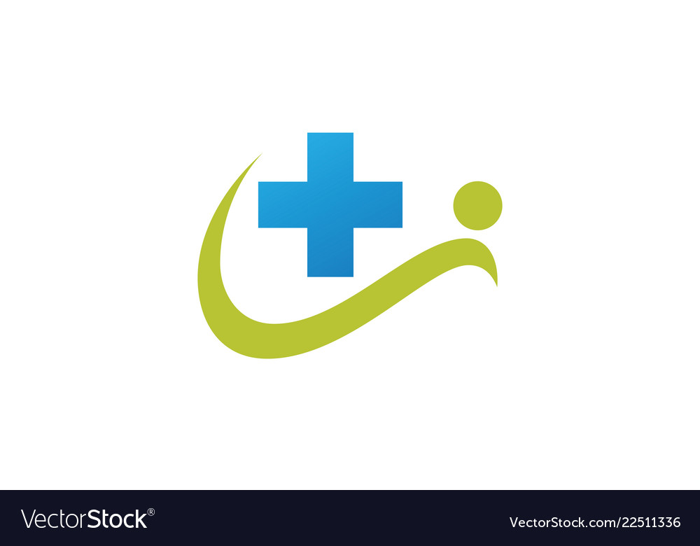 People cross medical logo