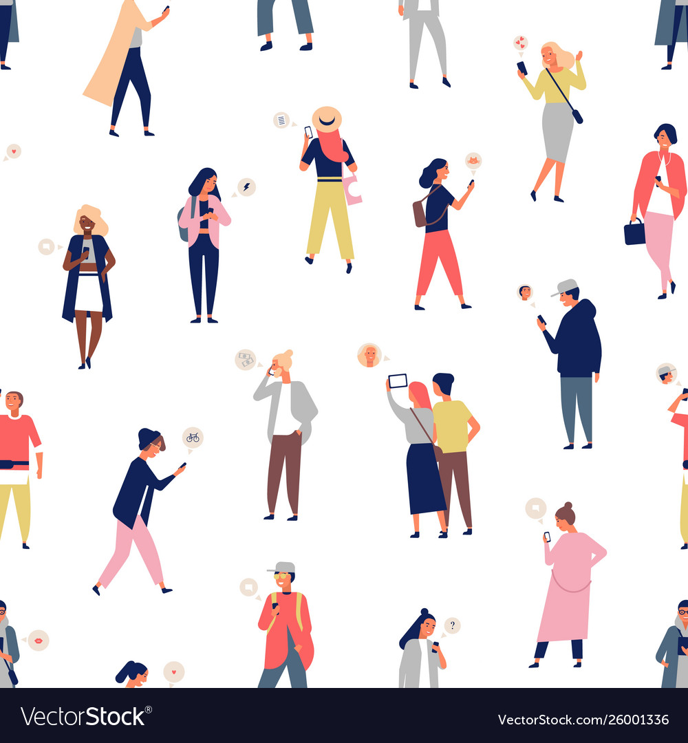 Seamless pattern with crowd people using