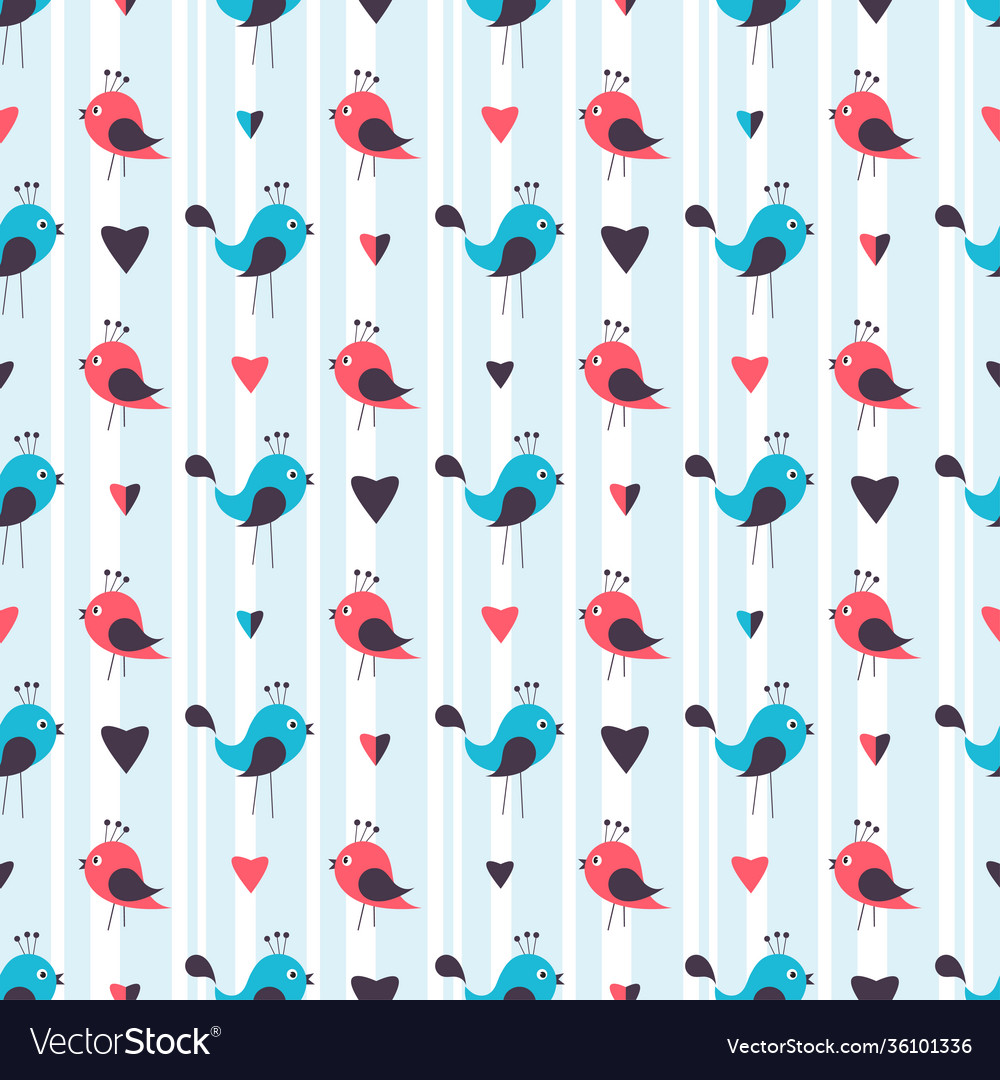 Seamless pattern with cute birds and hearts
