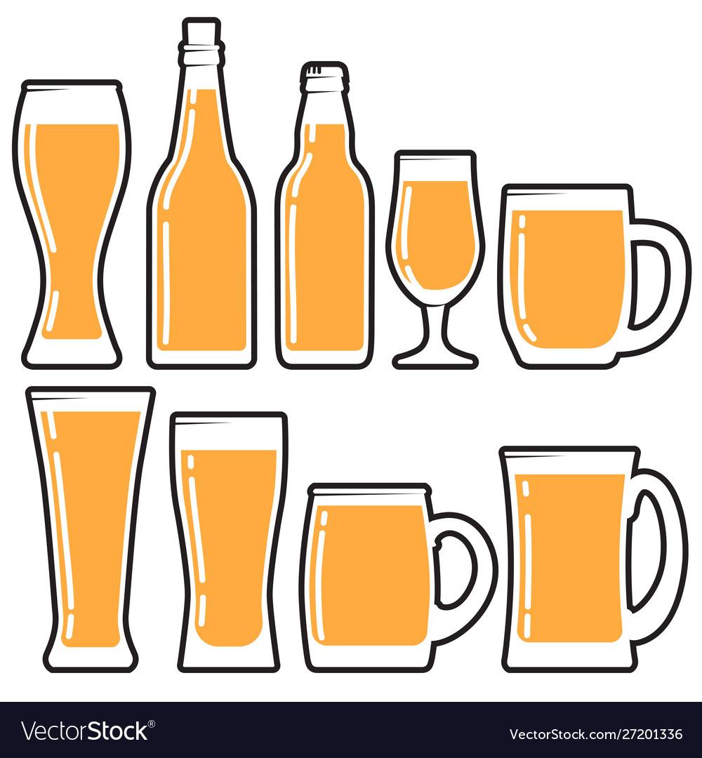Set various beer bottles mugs and glases
