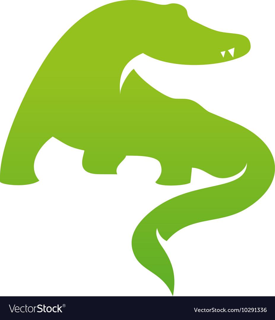 silhouette logo icon template crocodile design vector image
