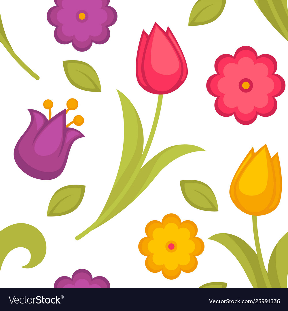 Spring flowers tulips seamless pattern easter