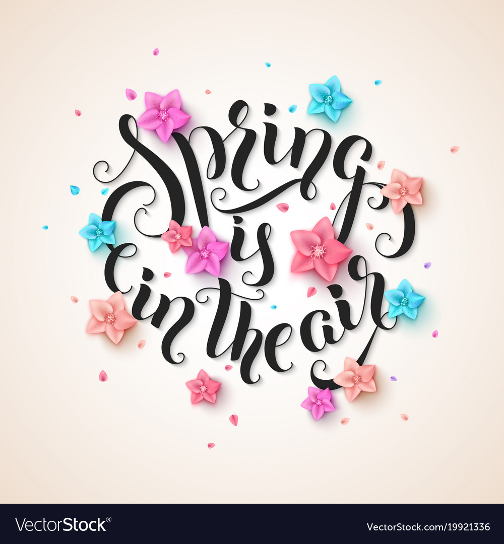 Spring is in the air stylish handwritten vector image