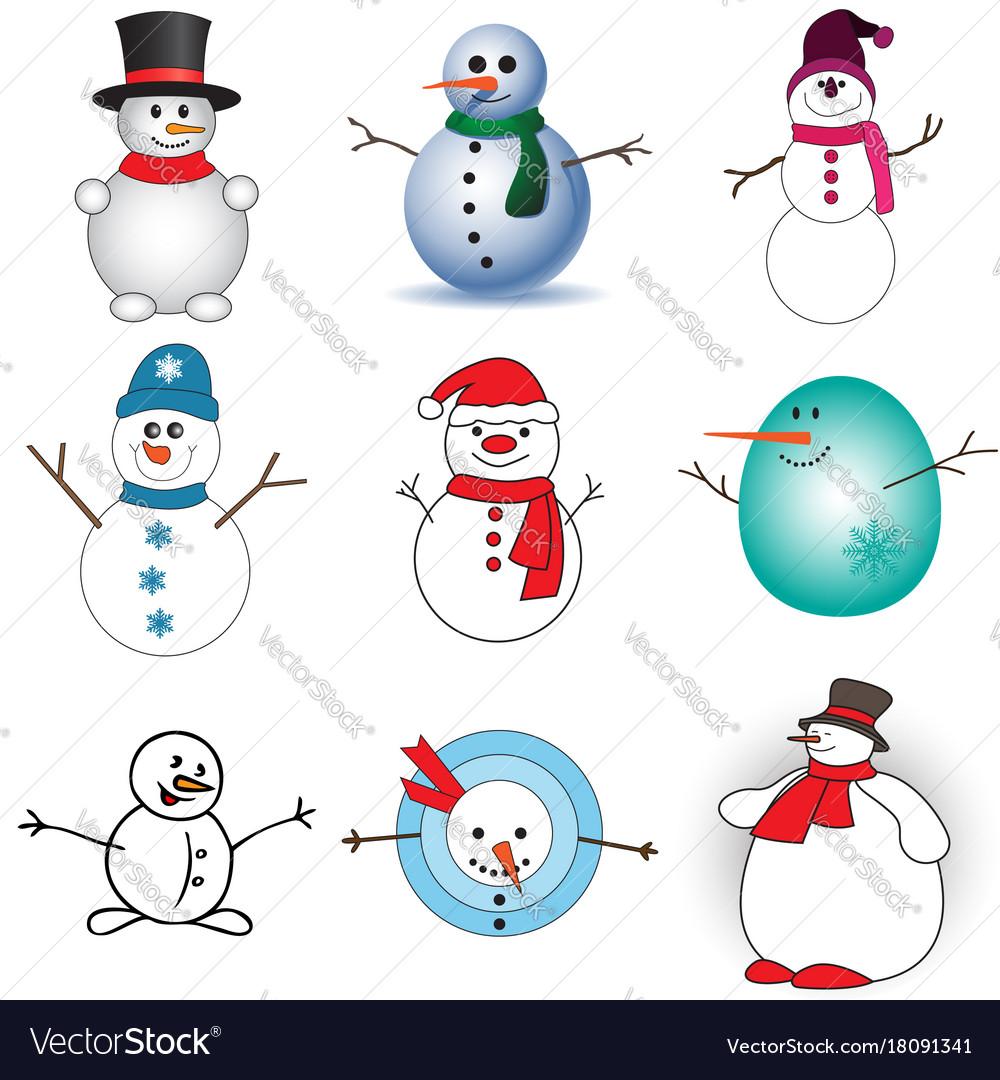Cute snowmen set on white background