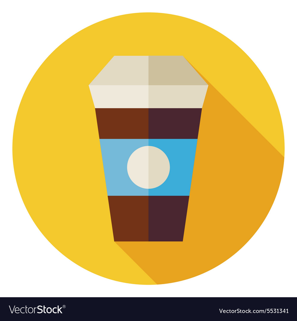 Flat Hot Drink Coffee Cup Circle Icon with Long