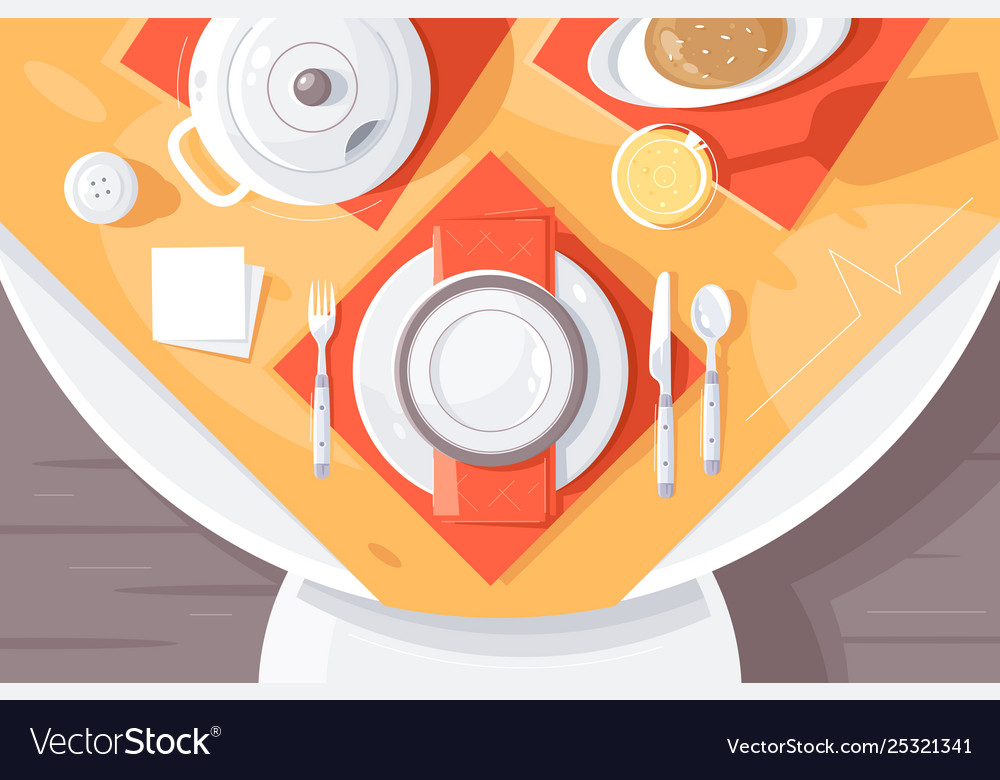 Flat table setting with plate food cutlery