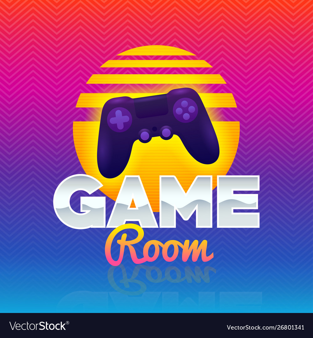 Game room retro game sign poster in style 80s