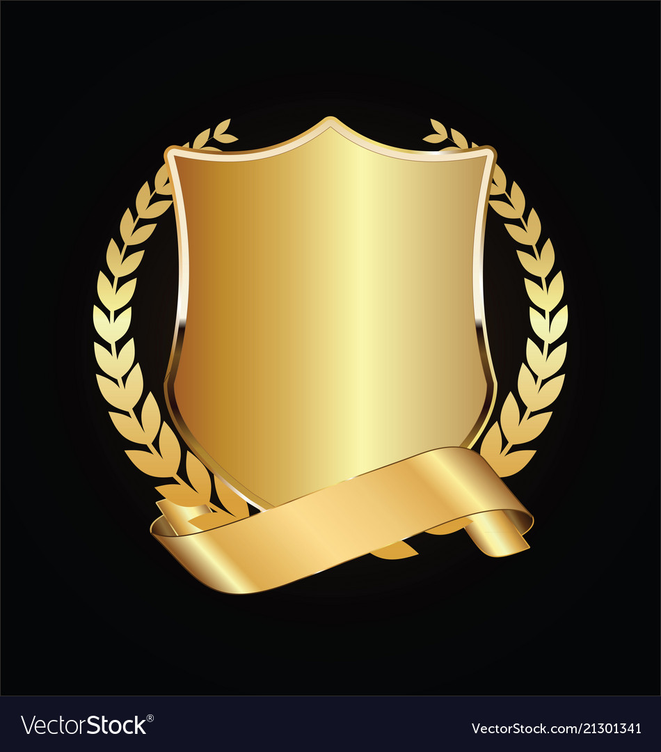 Gold and black shield with gold laurels 05