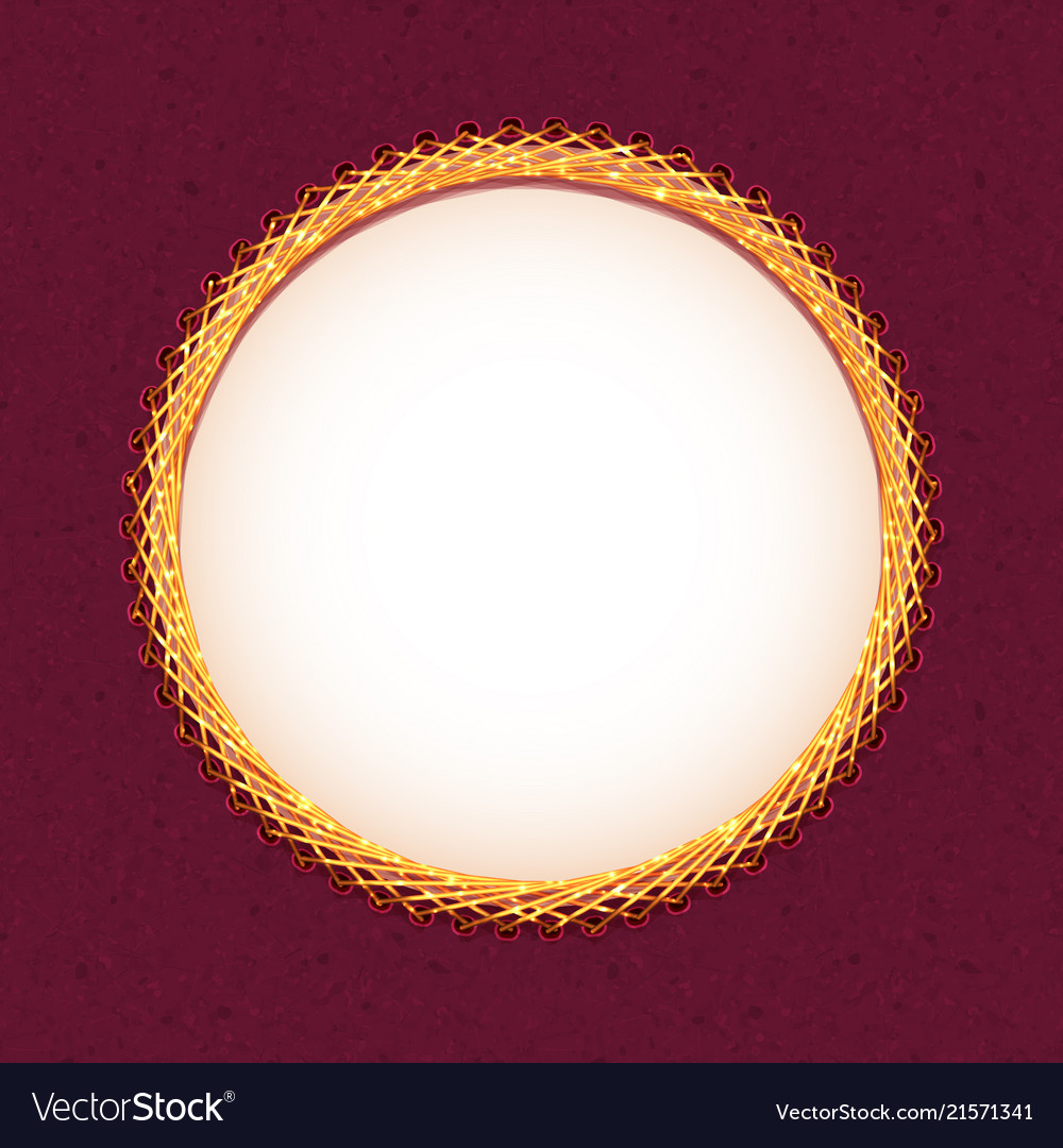 Handmade embroidery circle frame Royalty Free Vector Image