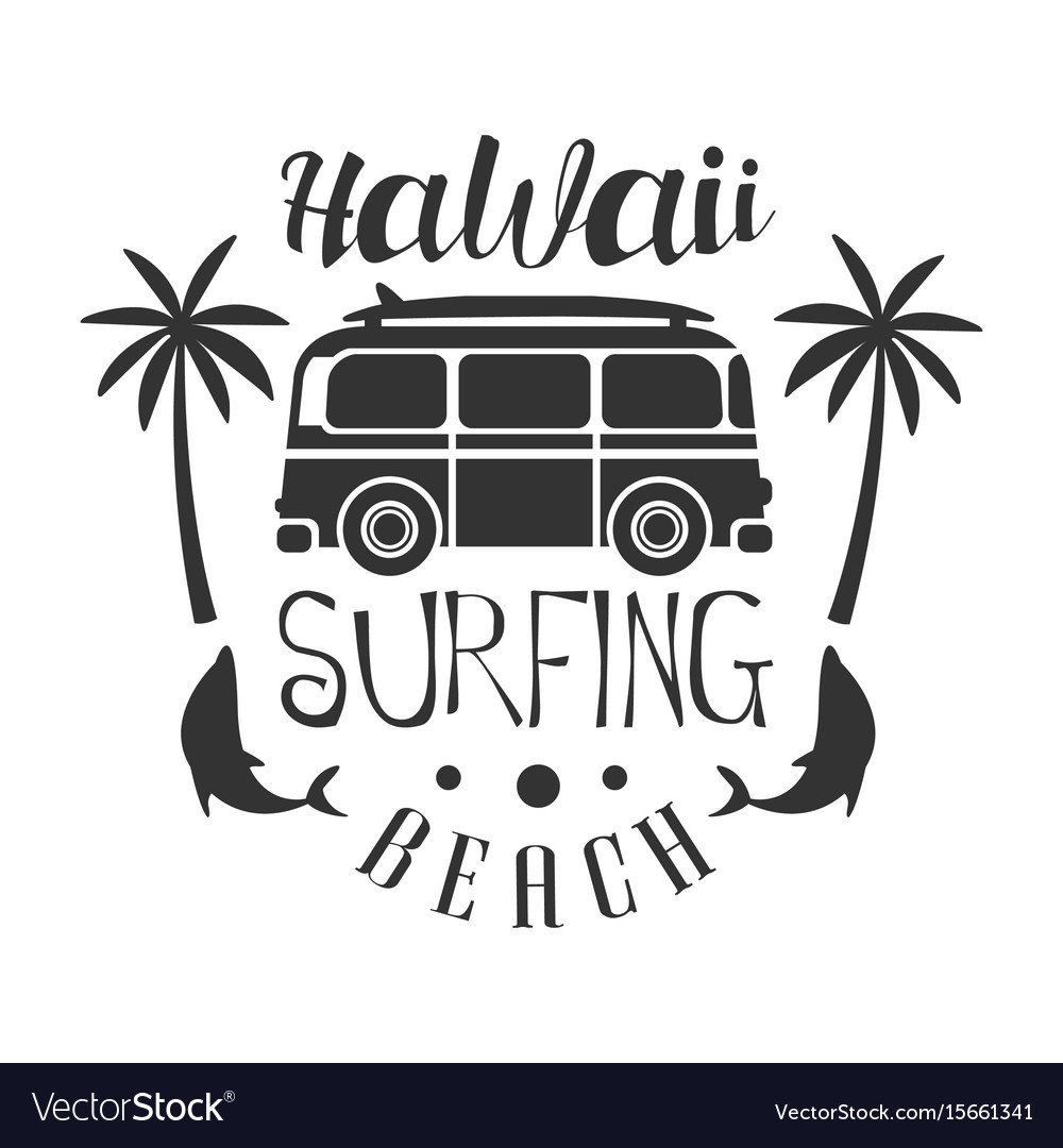 Hawaii beach surfing logo template black and vector image