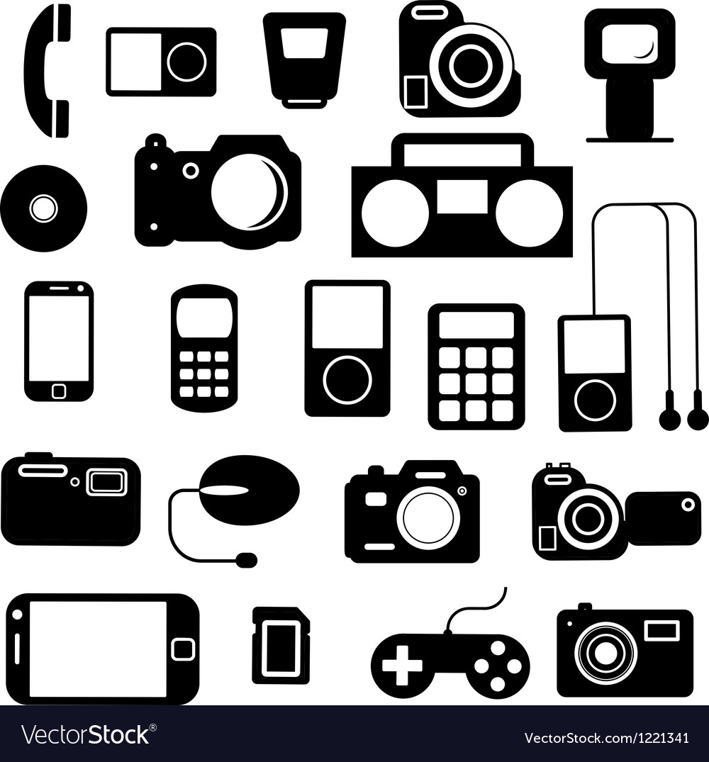Icon with electronic gadgets vector image
