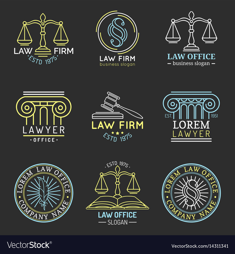 Law office logos set with scales of justicegavel