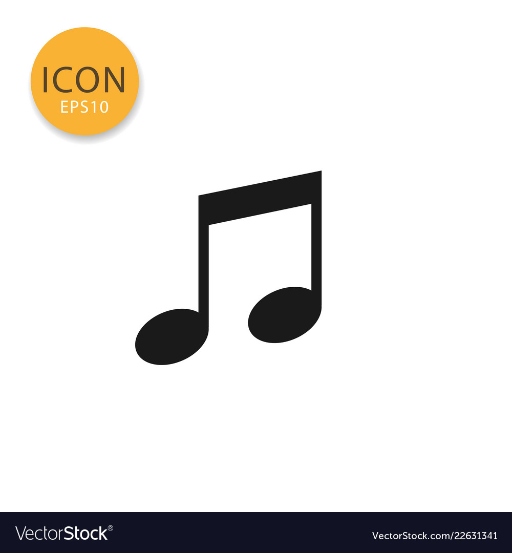 Music note icon isolated flat style