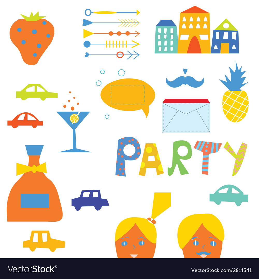 Party design elements for hipster vector image