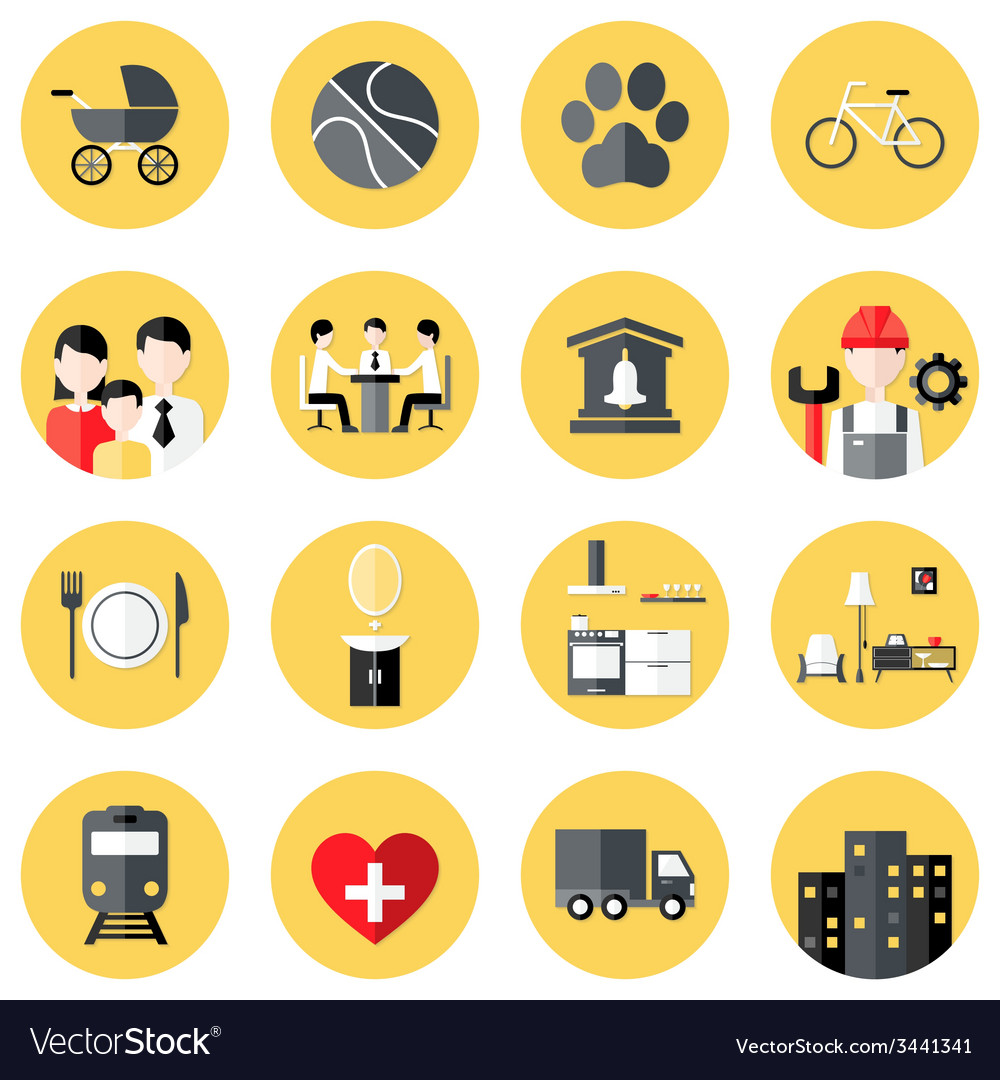 People Interests Flat Circle Icons Set over Yellow