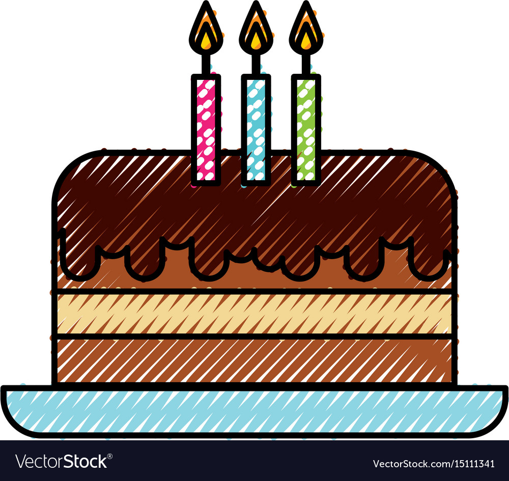 Wondrous Scribble Cute Birthday Cake Cartoon Royalty Free Vector Funny Birthday Cards Online Alyptdamsfinfo