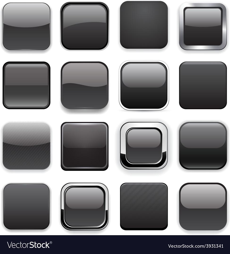 Square black app icons