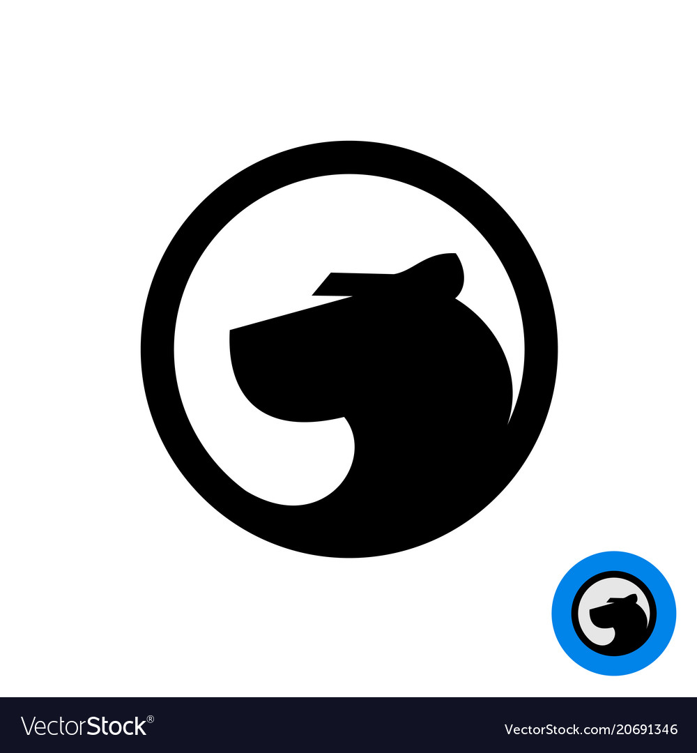 Black panther head logo in a round badge
