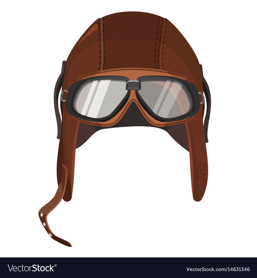 Brown aviator hat with goggles isolated on white Vector Image 9c76427c245