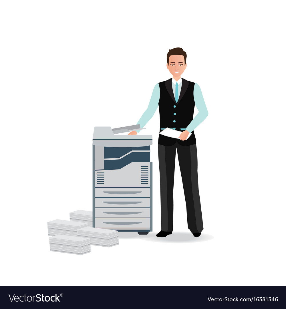 Businessman using copy machine or printing machine vector image