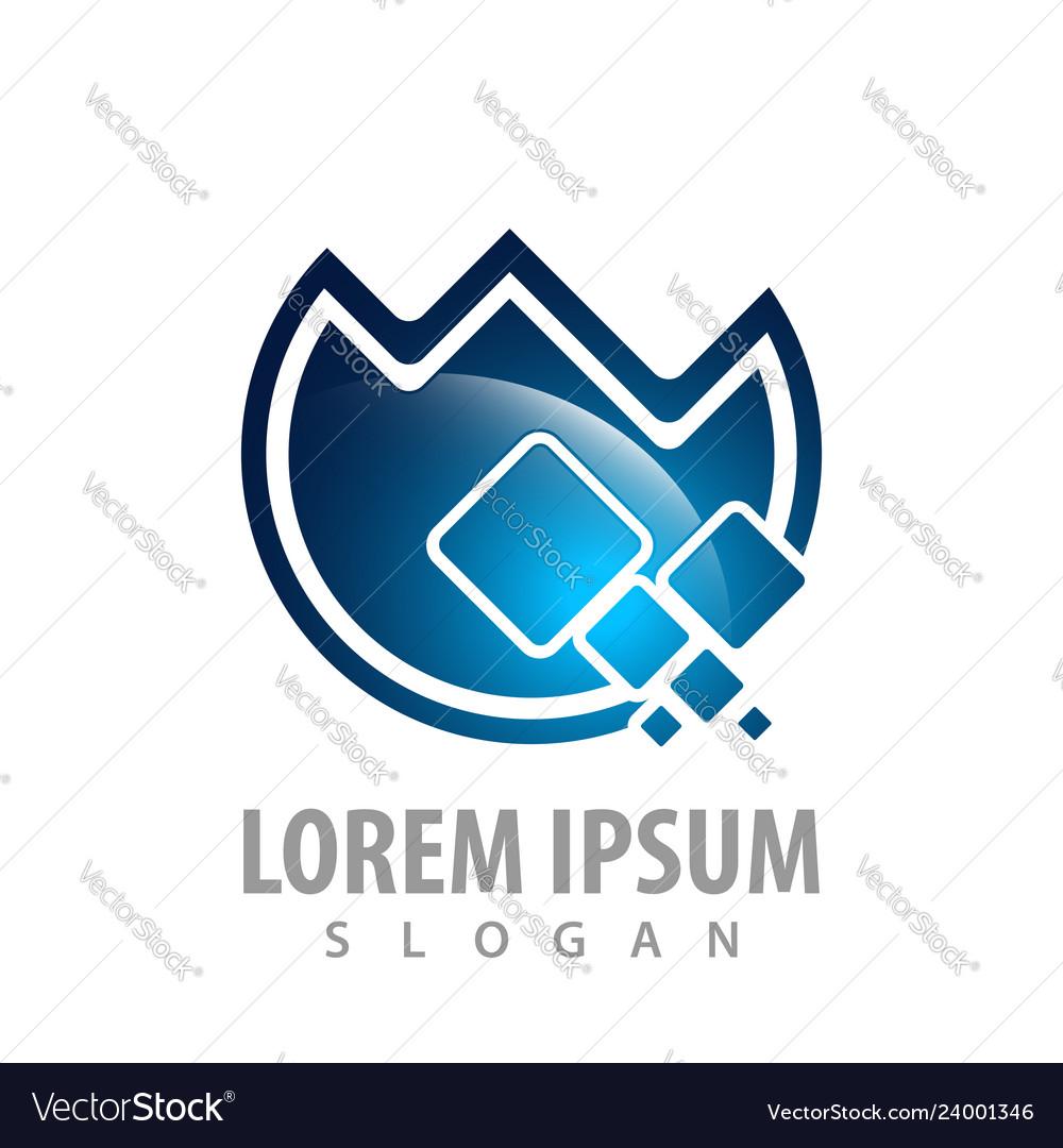 Circle digital logo concept design symbol graphic