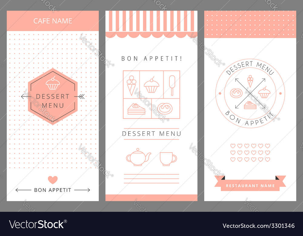 dessert menu card design template royalty free vector image