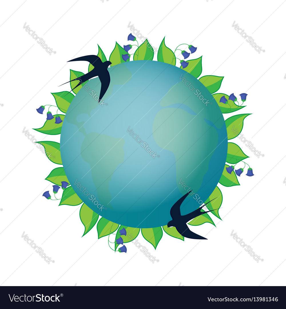 Earth day planet with leaves and blue bells