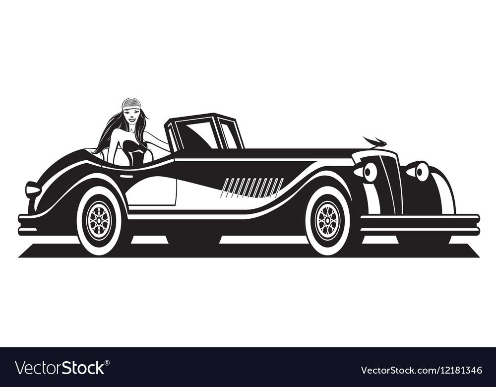 Fashion model and classic car