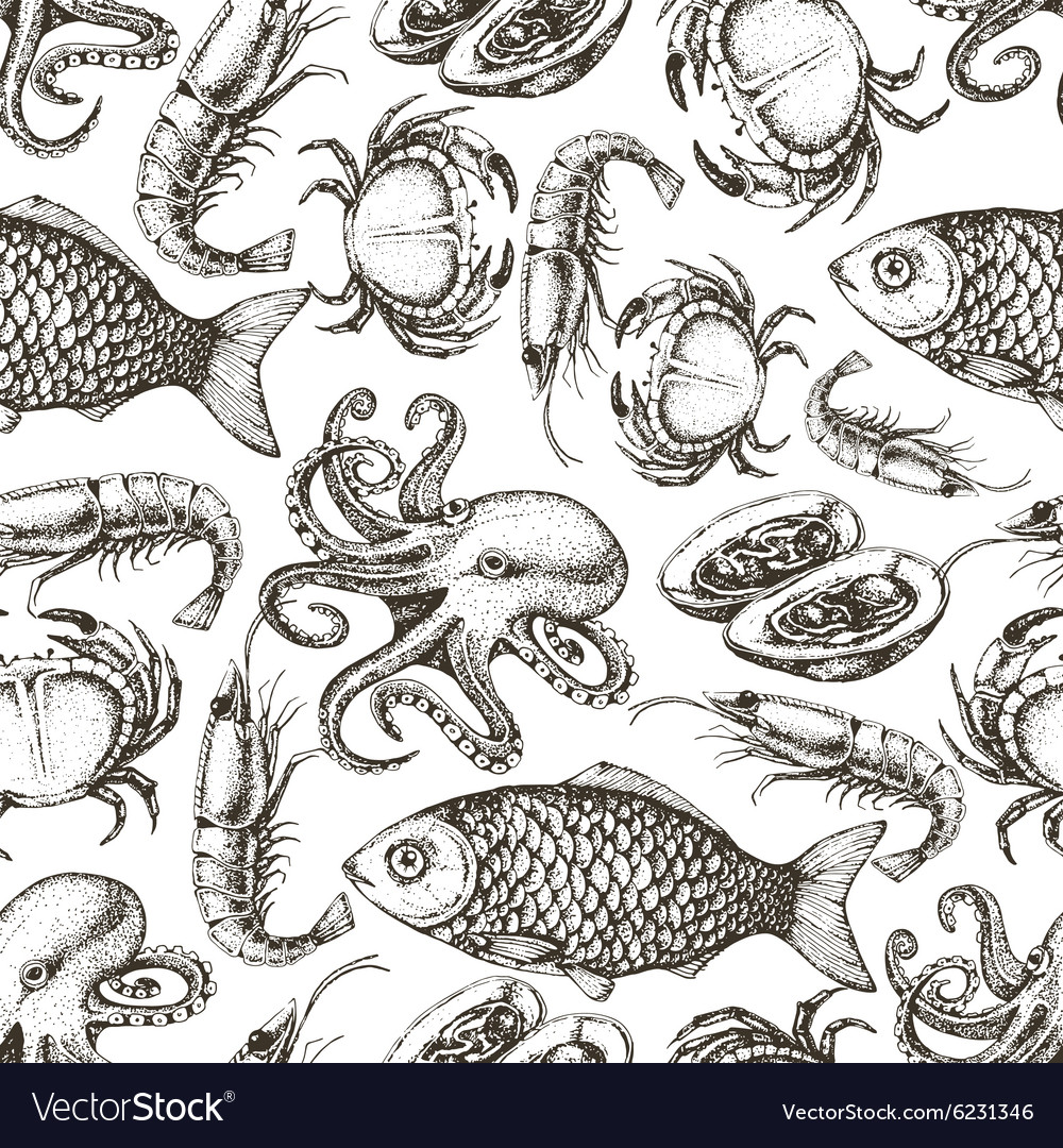 Hand drawn sketch seafood seamless pattern