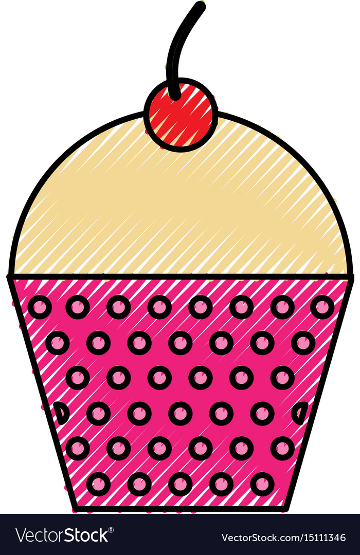Scribble cute fuchsia cupcake cartoon