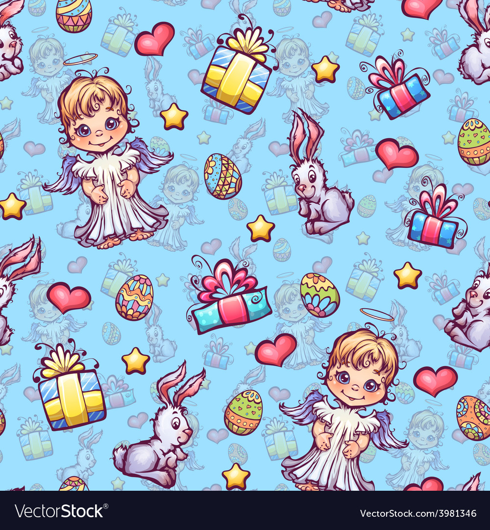 Seamless pattern of cartoon Easter elements
