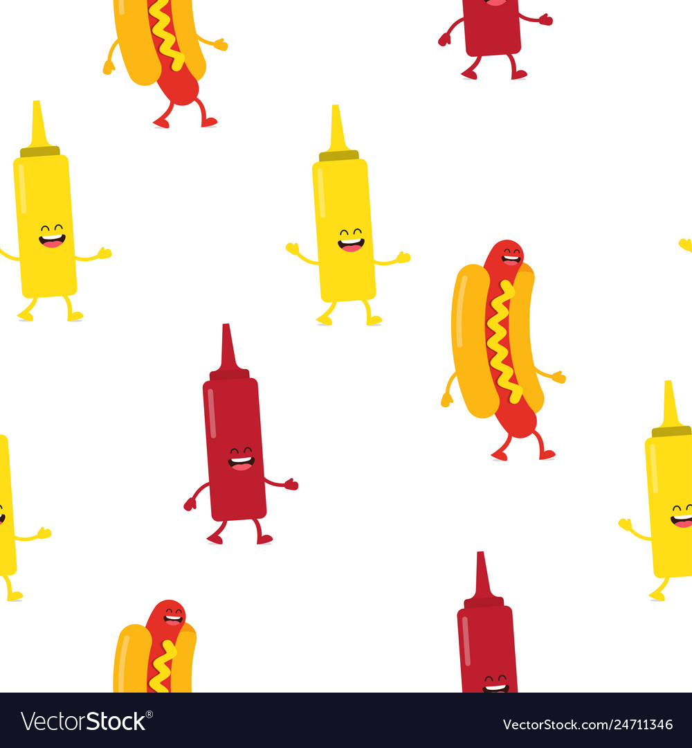 Seamless pattern with hot dogs and sauce