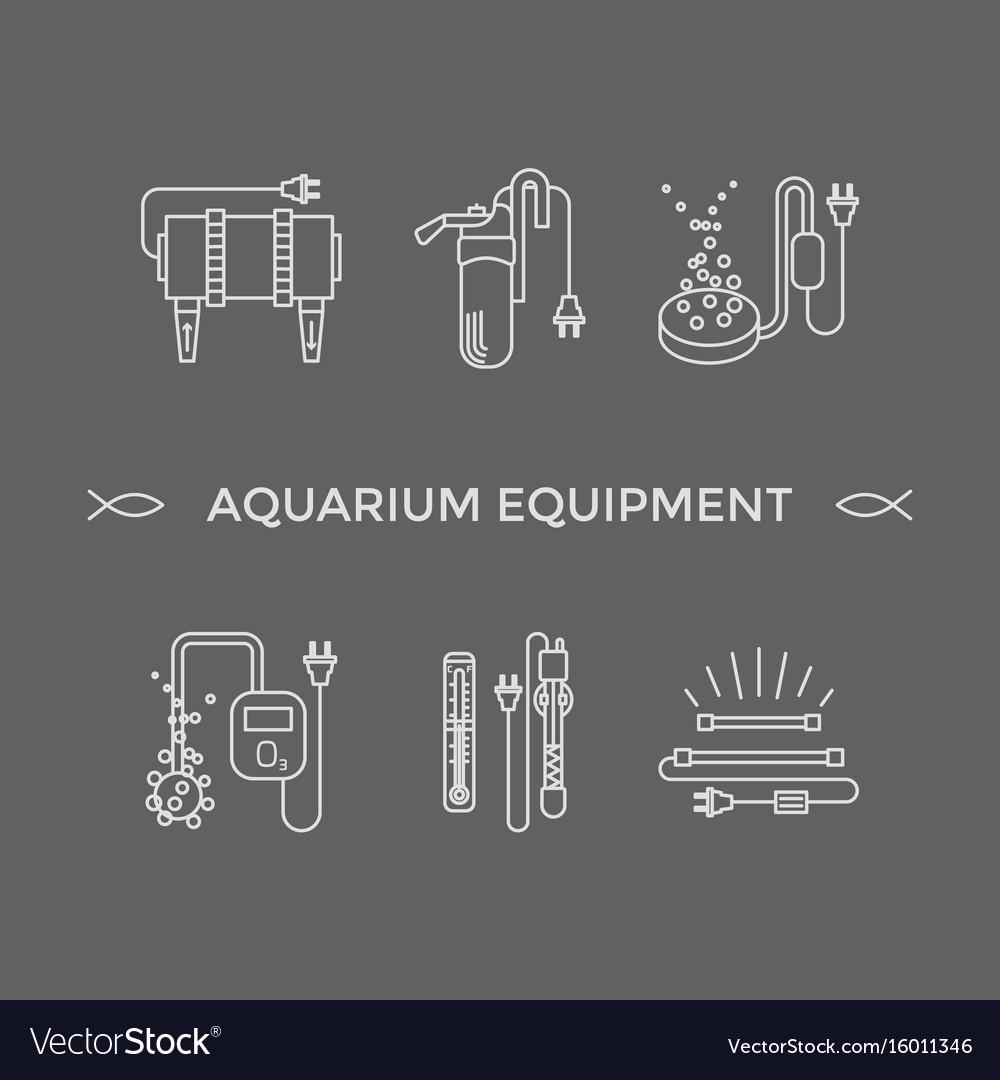 Thin line icons - aquarium equipment