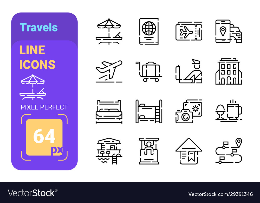 Travels line icons set
