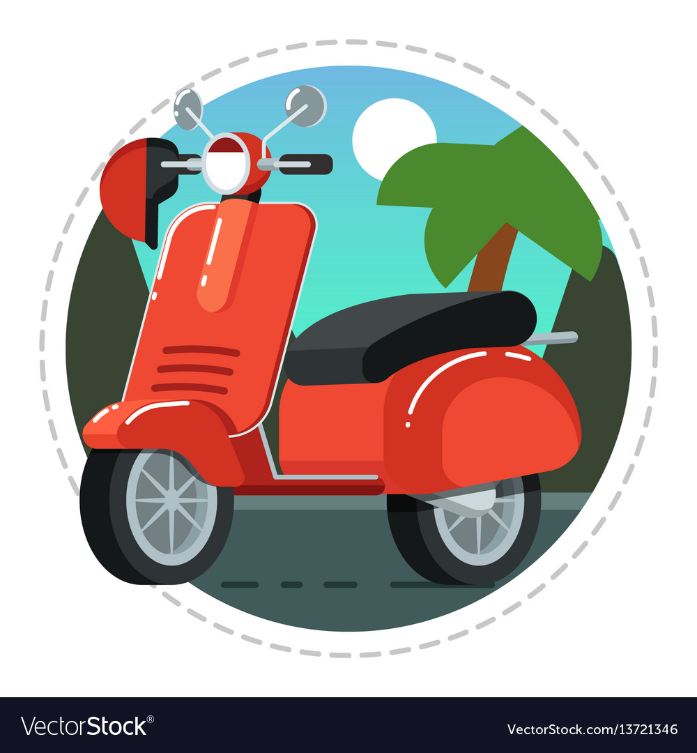 Vintage scooter icon in flat design