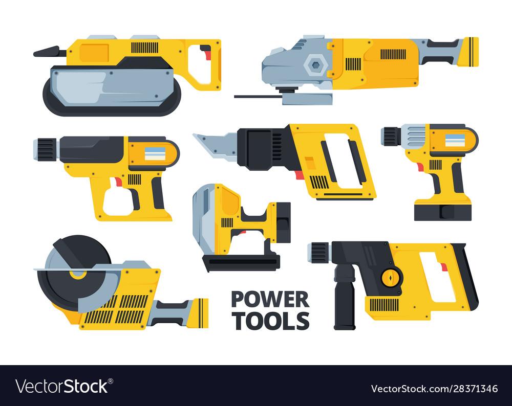 Yellow modern power tools flat set