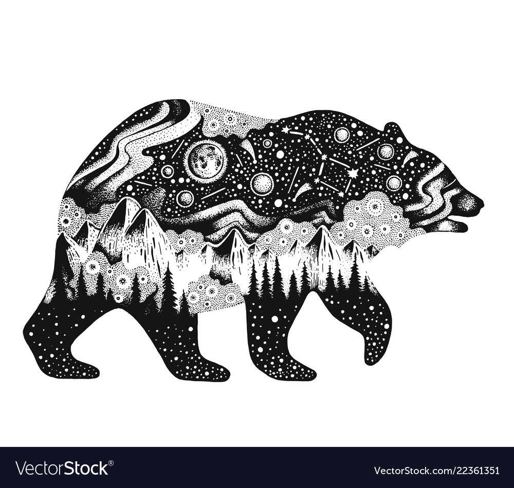 Bear silhouette for t-shirt print or temporary