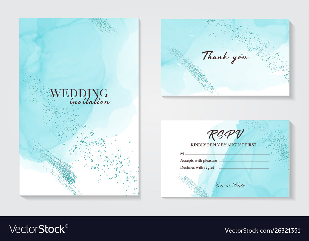 Blue wedding invitation alcohol ink card