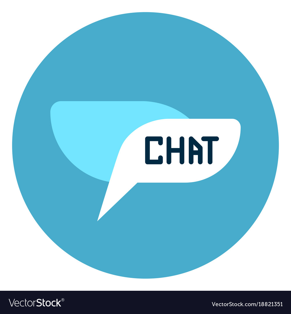 Chat bubble icon web button on round blue