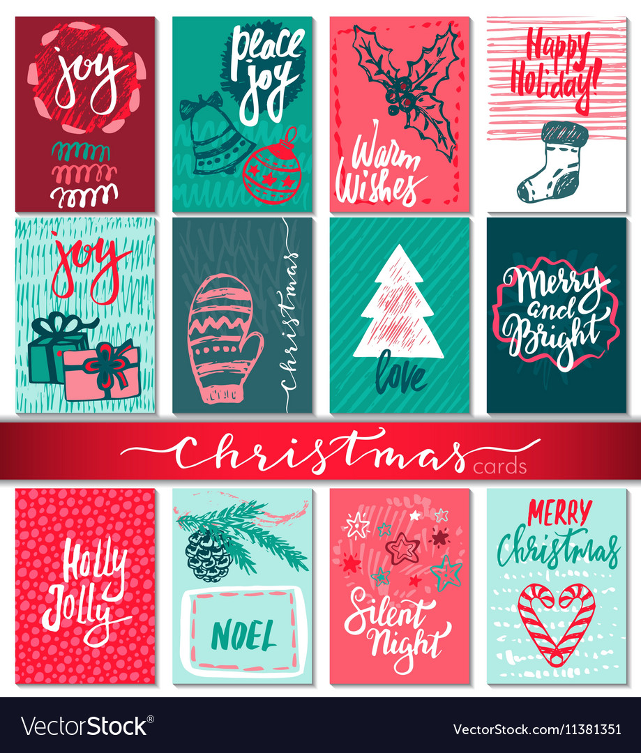 Collection of nine Christmas cards with hand drawn