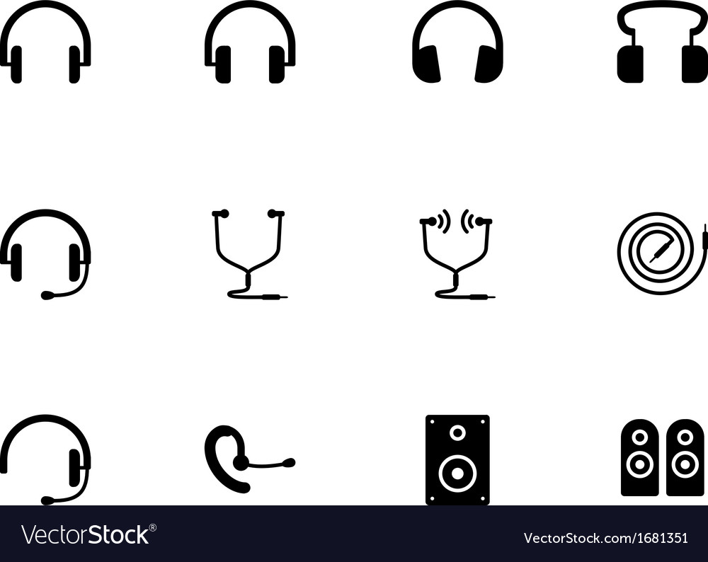 Headphones and speakers icons on white background vector image