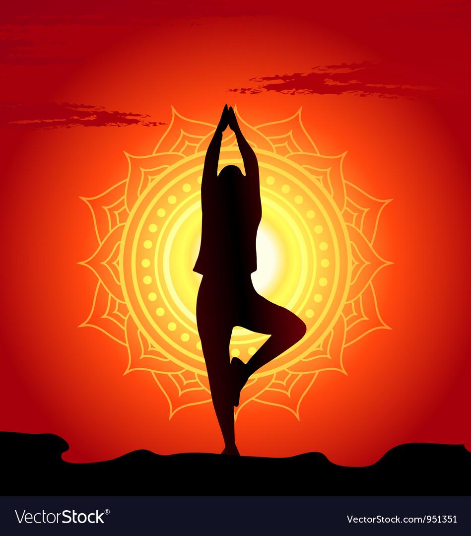 Meditating and doing yoga woman vector image