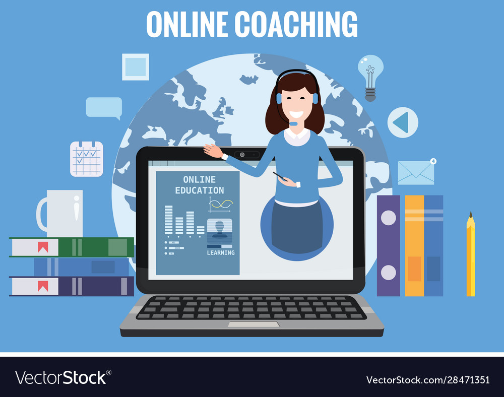 Online coaching training education workshops and Vector Image