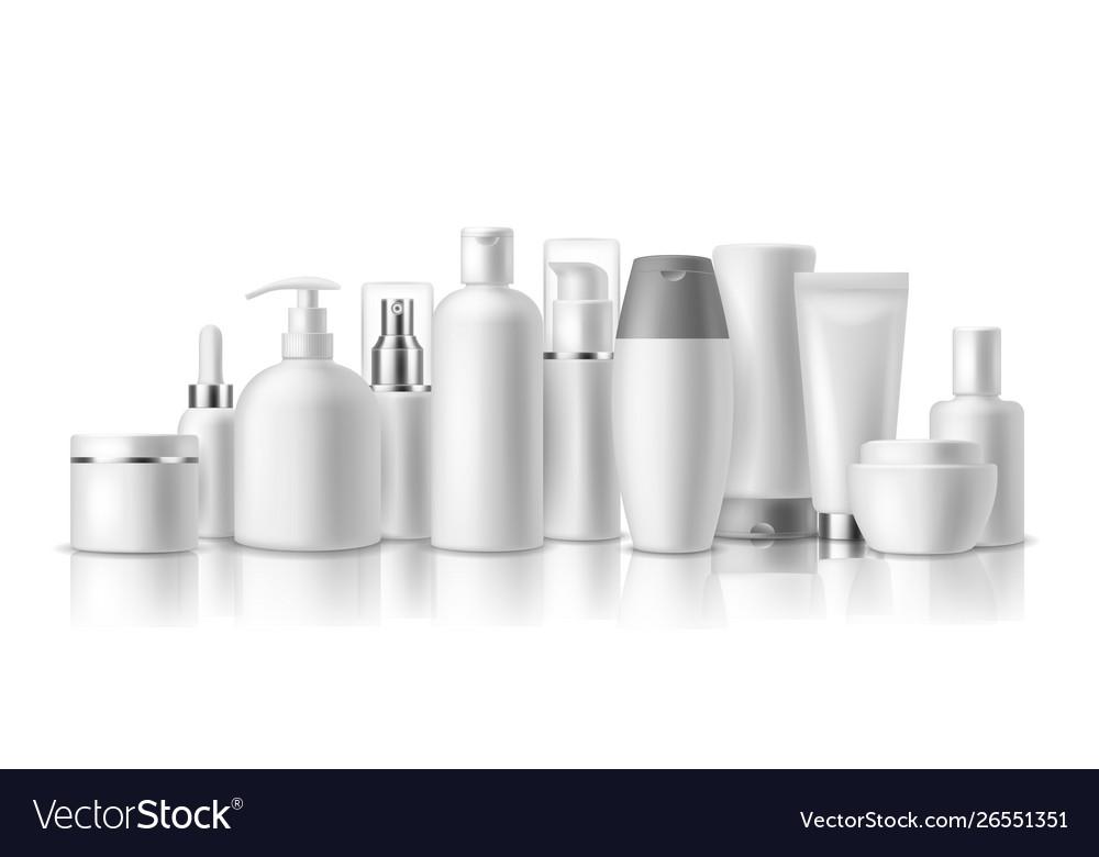 Realistic cosmetic mockups skin care cosmetics