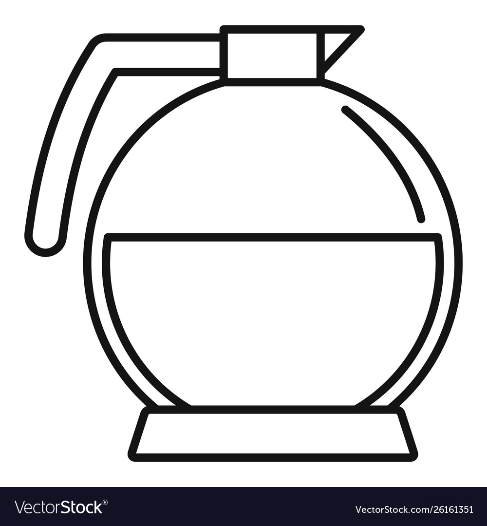Round coffee glass icon outline style