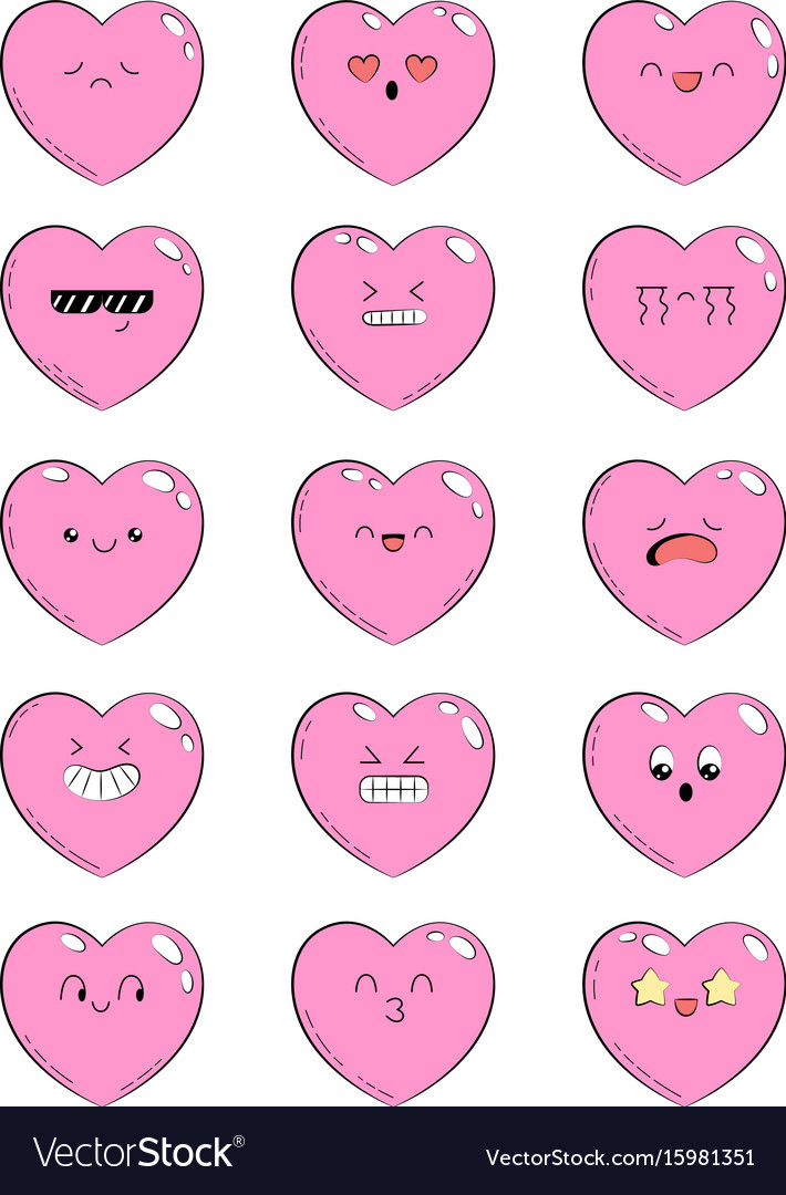 Set of icons with different emotions heart